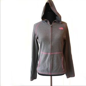 Girls North Face gray pink hoodie jacket